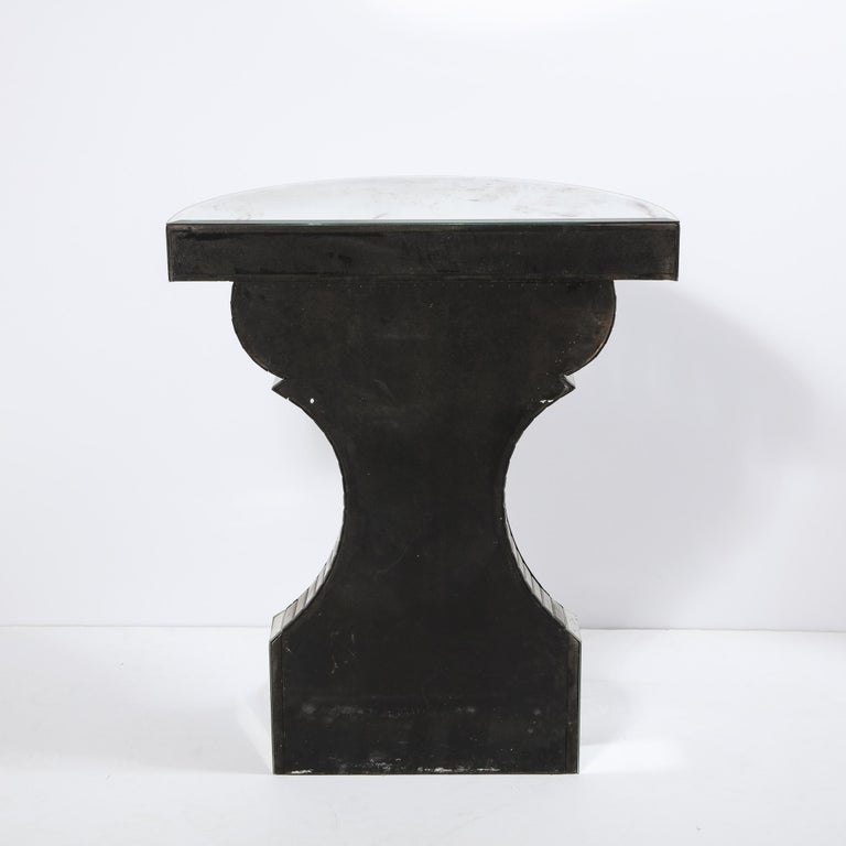 Sculptural Hollywood Regency Reverse Etched Beveled Antique Mirror Console Table For Sale 6