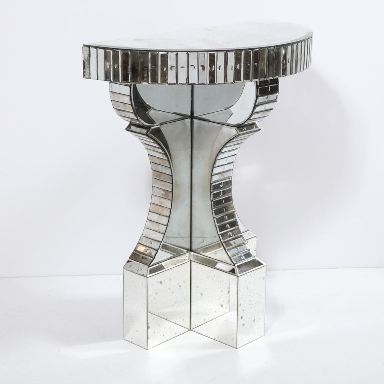 Sculptural Hollywood Regency Reverse Etched Beveled Antique Mirror Console Table For Sale 10