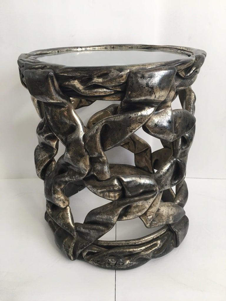 1970s Sculptural Hollywood Regency Ribbon Drinks Side Table, Tony Duquette Style For Sale