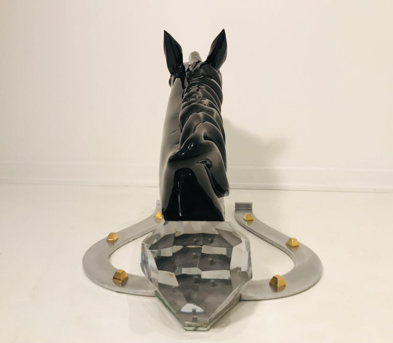 Italian Sculptural Horse in Glass by Pino Signoretto For Sale