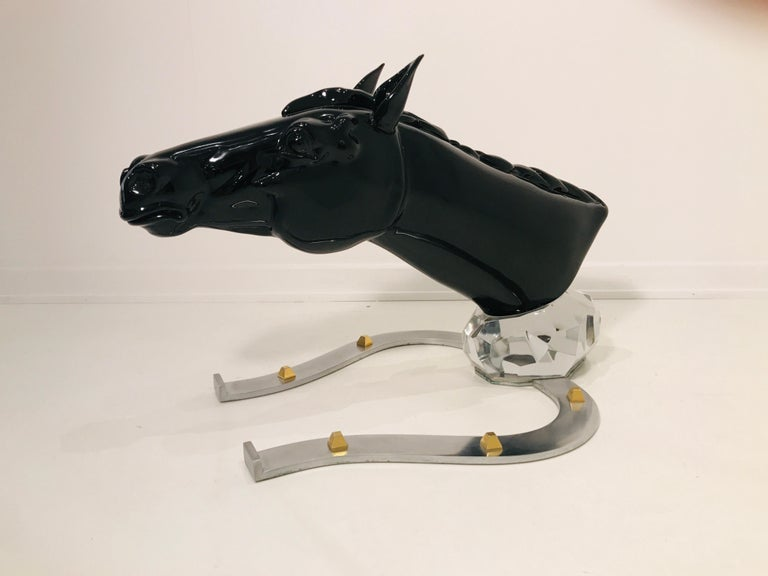 Late 20th Century Sculptural Horse in Glass by Pino Signoretto For Sale
