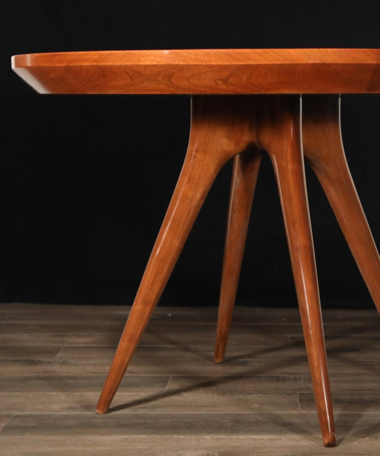 Sculptural Inlaid Walnut Parquetry Dining Table by Vladimir Kagan Designs For Sale 4