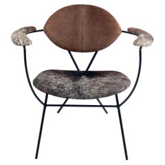 Sculptural Iron and Cowhide Lounge Chair by Joseph Cicchelli