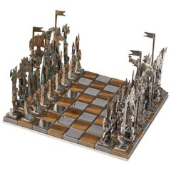 Sculptural Italian Chess Game in Metal and Glass