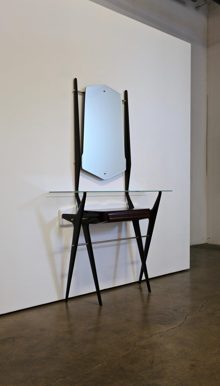 20th Century Sculptural Italian Console and Mirror, circa 1955 For Sale