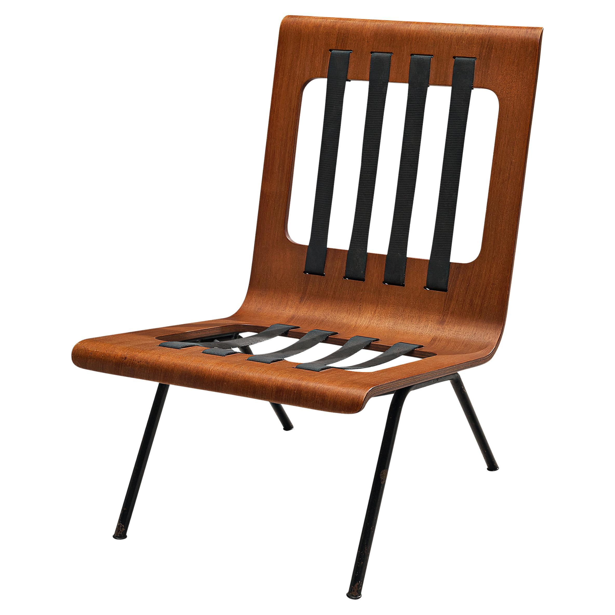 Sculptural Italian Lounge Chair in Bent Teak