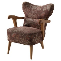 Sculptural Italian Lounge Chair in Oak and Floral Upholstery