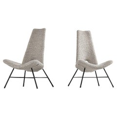 Sculptural Italian Lounge Chairs in Bouclé Fabric 1950