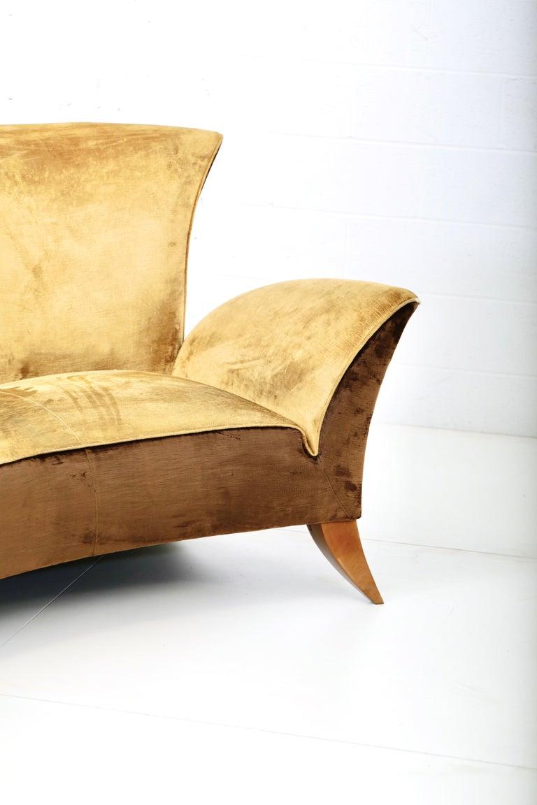 Velvet Sculptural Italian Sofa, 1960s