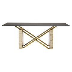 Sculptural Italian Table in Travertine, Glass and Brass