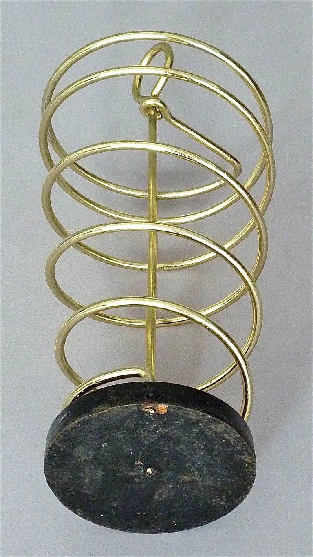 Sculptural Italian Umbrella Stand Golden Anodized Aluminum Spiral Iron, 1950s For Sale 6