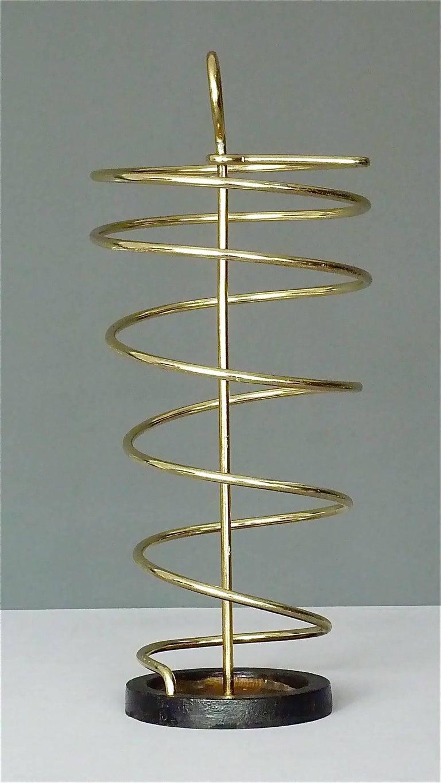 Sculptural Italian Umbrella Stand Golden Anodized Aluminum Spiral Iron, 1950s For Sale 8