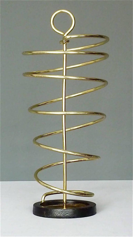 Sculptural Italian Umbrella Stand Golden Anodized Aluminum Spiral Iron, 1950s For Sale 9