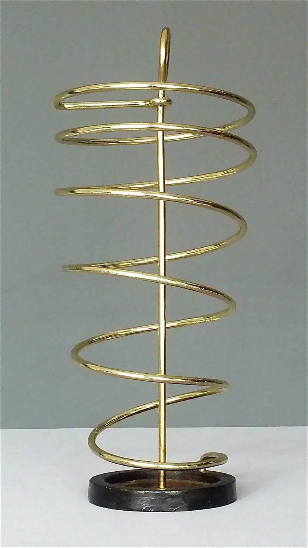 Sculptural Italian Umbrella Stand Golden Anodized Aluminum Spiral Iron, 1950s For Sale 10