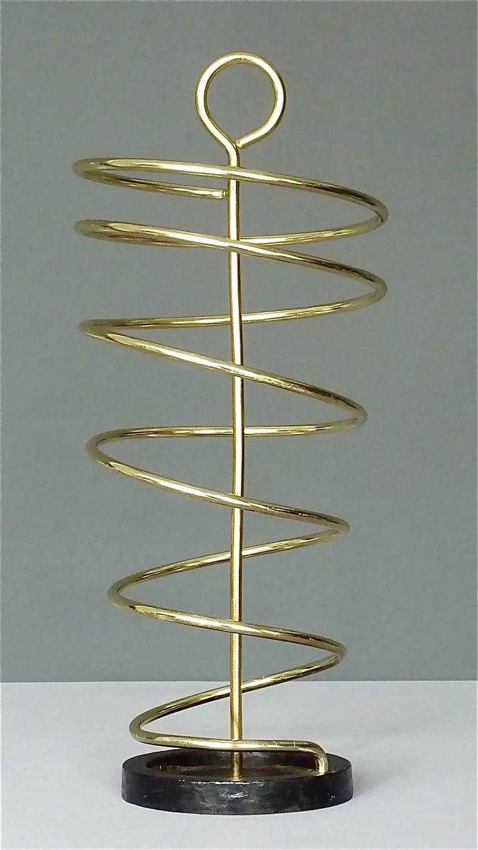 Sculptural Italian Umbrella Stand Golden Anodized Aluminum Spiral Iron, 1950s For Sale 11