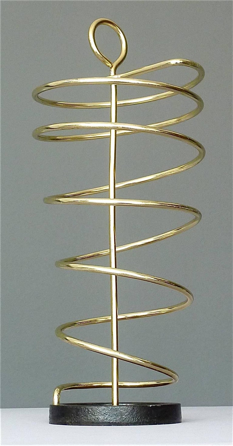 Mid-Century Modern Sculptural Italian Umbrella Stand Golden Anodized Aluminum Spiral Iron, 1950s For Sale
