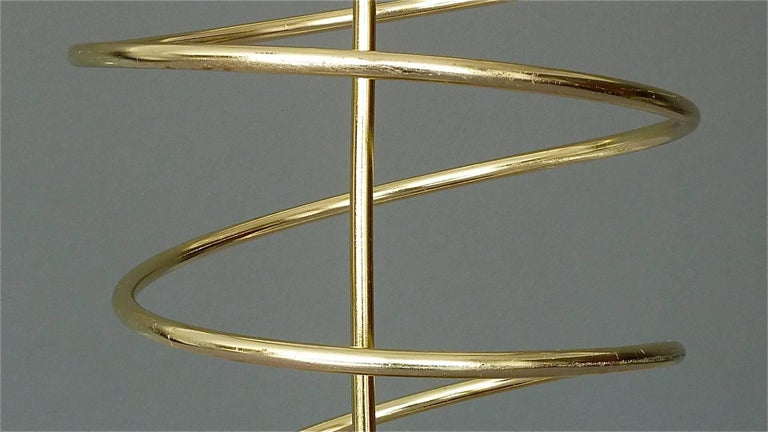 Mid-20th Century Sculptural Italian Umbrella Stand Golden Anodized Aluminum Spiral Iron, 1950s For Sale