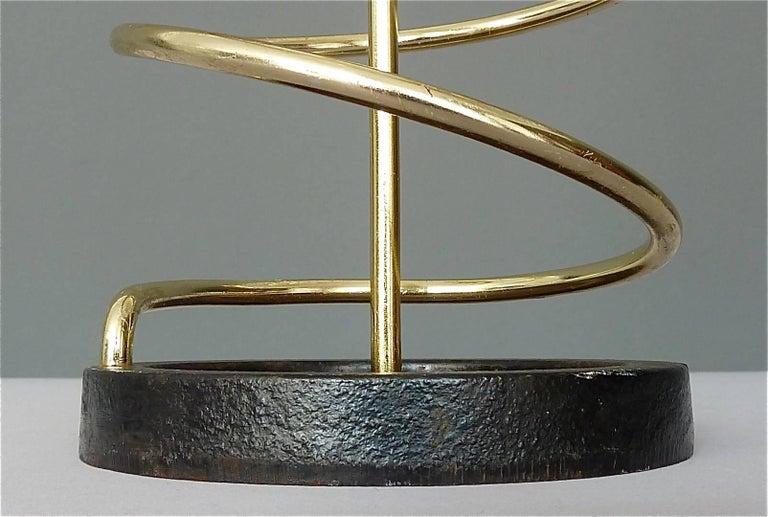 Sculptural Italian Umbrella Stand Golden Anodized Aluminum Spiral Iron, 1950s For Sale 1