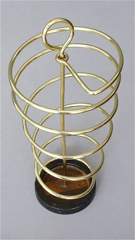 Sculptural Italian Umbrella Stand Golden Anodized Aluminum Spiral Iron, 1950s For Sale 2