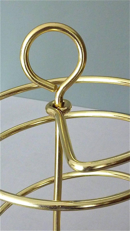 Sculptural Italian Umbrella Stand Golden Anodized Aluminum Spiral Iron, 1950s For Sale 3