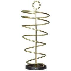 Sculptural Italian Umbrella Stand Golden Anodized Aluminum Spiral Iron, 1950s