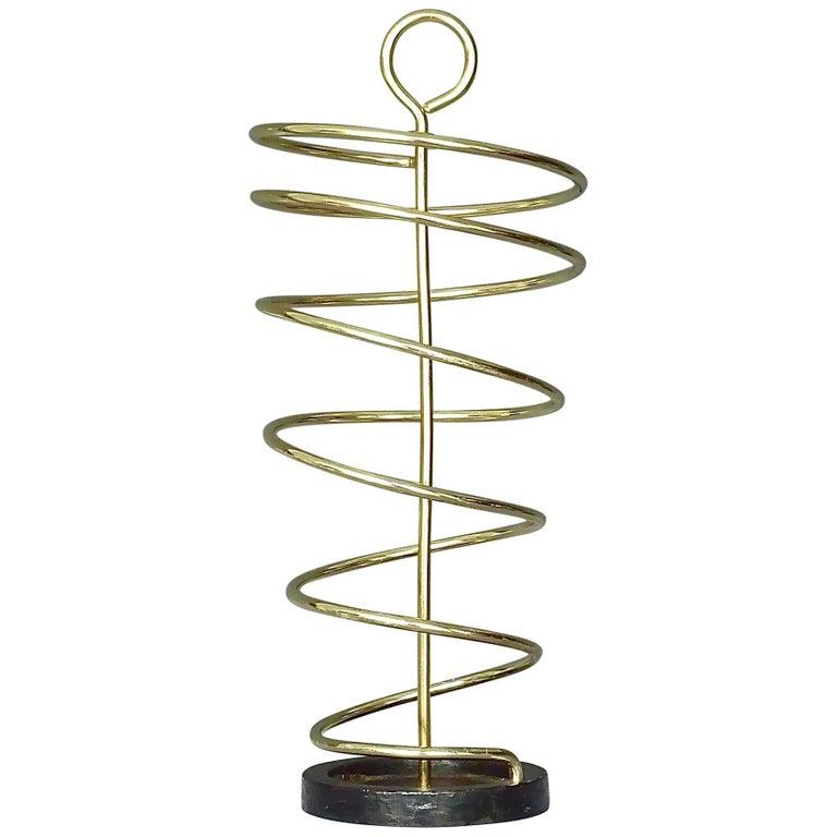 Sculptural Italian Umbrella Stand Golden Anodized Aluminum Spiral Iron, 1950s For Sale