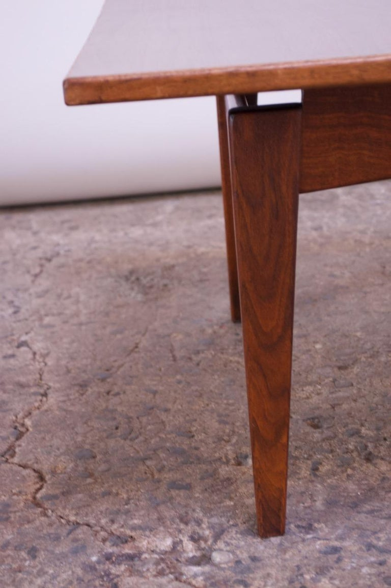 Sculptural Jens Risom Walnut Coffee Table For Sale 8