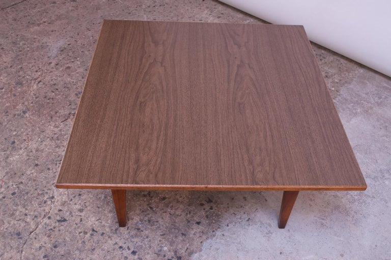 Sculptural Jens Risom Walnut Coffee Table In Good Condition For Sale In Brooklyn, NY