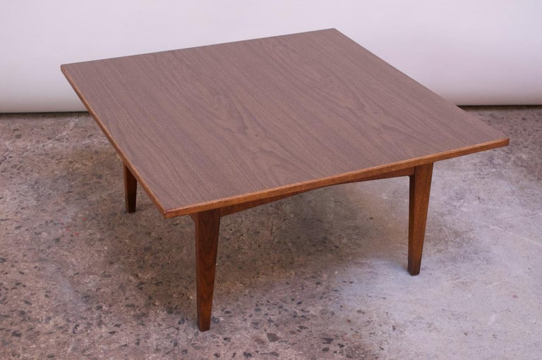 Mid-20th Century Sculptural Jens Risom Walnut Coffee Table For Sale