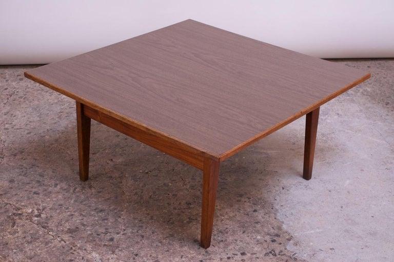 Laminate Sculptural Jens Risom Walnut Coffee Table For Sale