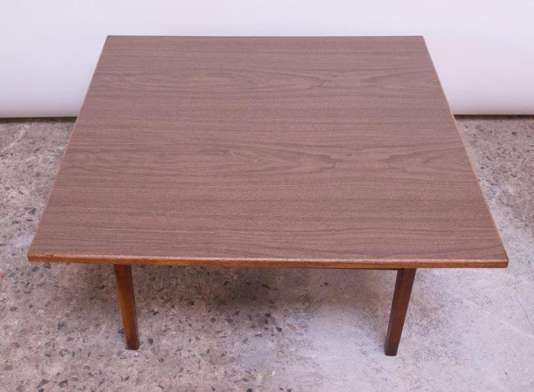 Sculptural Jens Risom Walnut Coffee Table For Sale 1