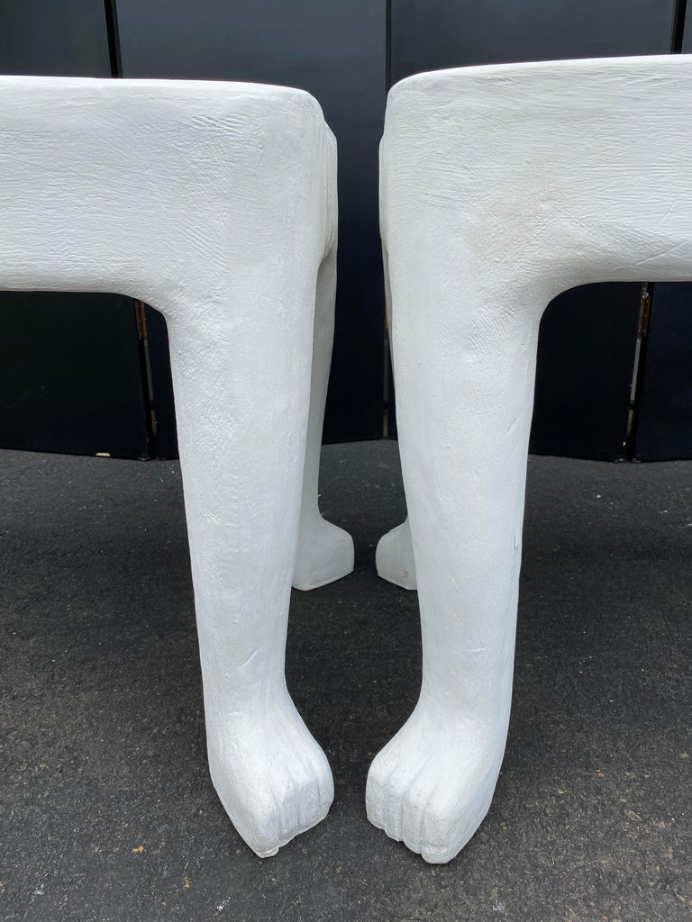 Sculptural John Dickinson Footed Side End Coffee Tables, Plaster White Pair For Sale 3