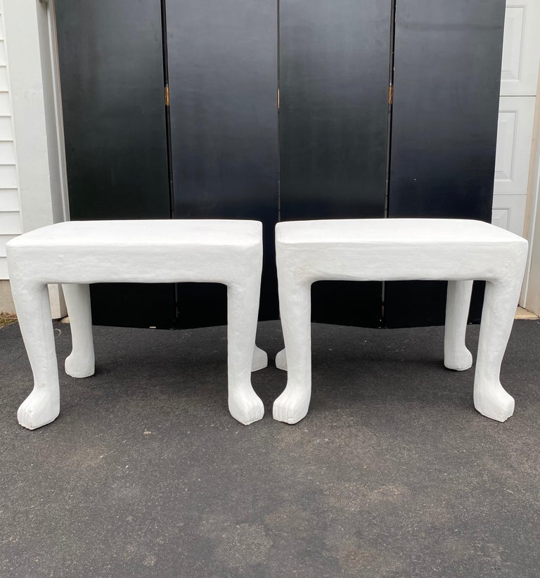 Organic Modern Sculptural John Dickinson Footed Side End Coffee Tables, Plaster White Pair For Sale