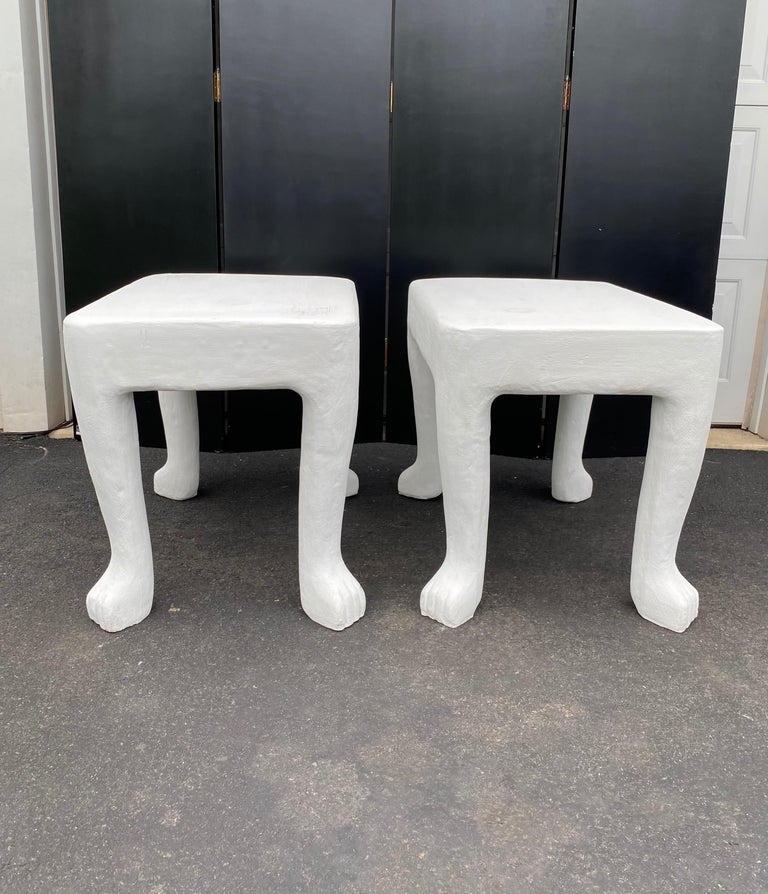Molded Sculptural John Dickinson Footed Side End Coffee Tables, Plaster White Pair For Sale