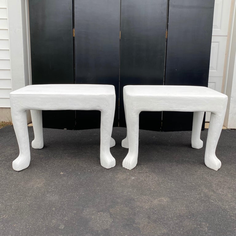 Sculptural John Dickinson Footed Side End Coffee Tables, Plaster White Pair In Good Condition For Sale In Lambertville, NJ