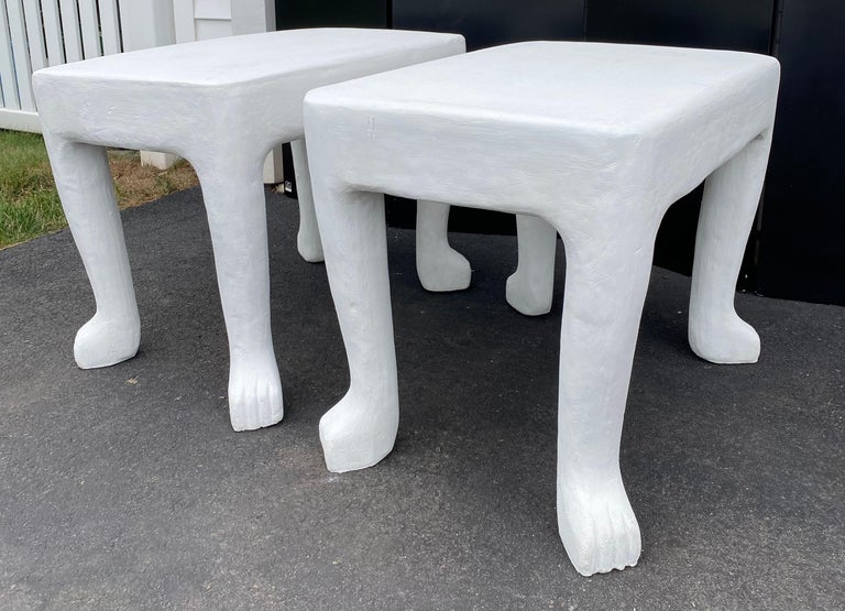 Contemporary Sculptural John Dickinson Footed Side End Coffee Tables, Plaster White Pair For Sale