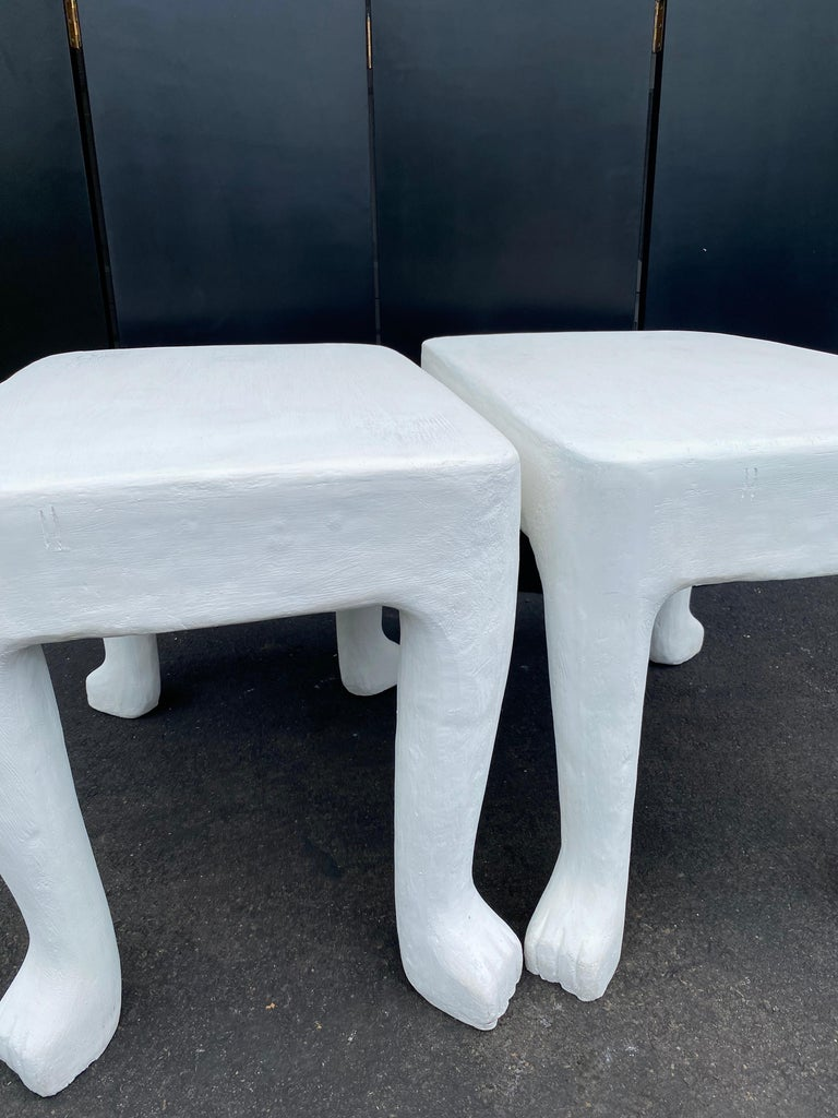 Concrete Sculptural John Dickinson Footed Side End Coffee Tables, Plaster White Pair For Sale