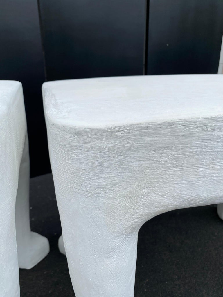 Sculptural John Dickinson Footed Side End Coffee Tables, Plaster White Pair For Sale 2