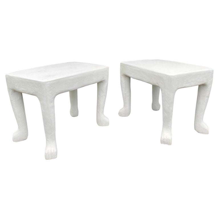 Sculptural John Dickinson Footed Side End Coffee Tables, Plaster White Pair For Sale