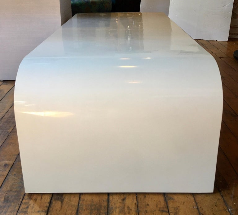Modern Sculptural Karl Springer Style Lacquered Waterfall Coffee Table, 1980s For Sale