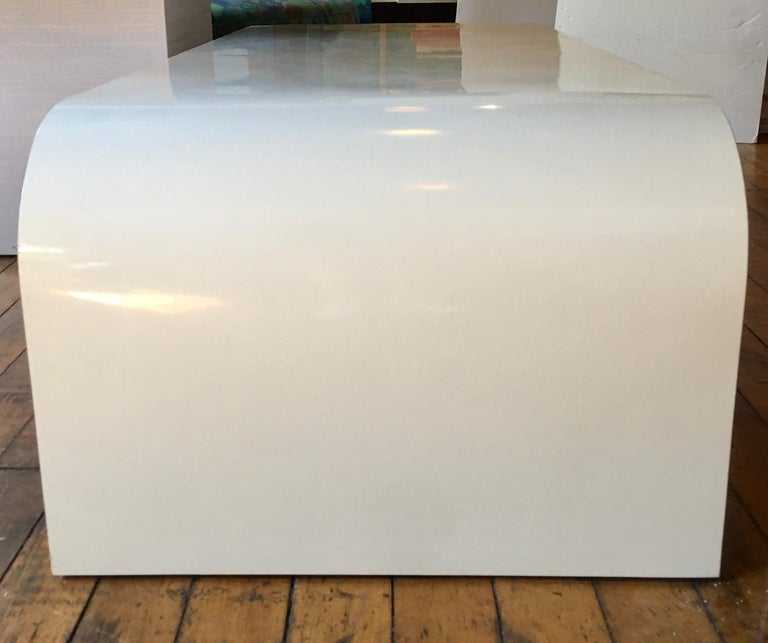 Sculptural Karl Springer Style Lacquered Waterfall Coffee Table, 1980s In Good Condition For Sale In Lambertville, NJ