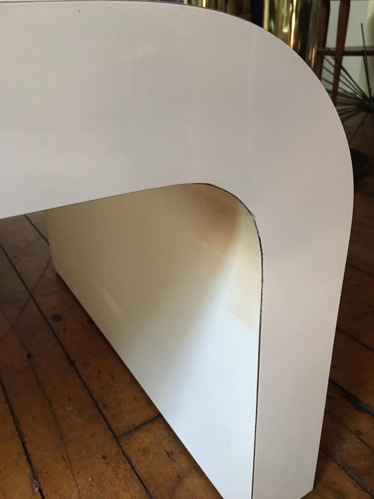 Laminate Sculptural Karl Springer Style Lacquered Waterfall Coffee Table, 1980s For Sale