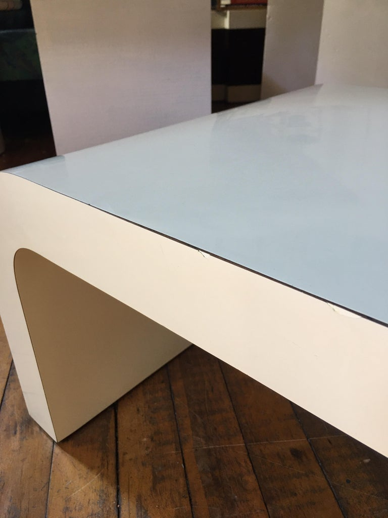Sculptural Karl Springer Style Lacquered Waterfall Coffee Table, 1980s For Sale 1