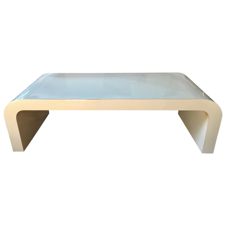 Sculptural Karl Springer Style Lacquered Waterfall Coffee Table, 1980s For Sale