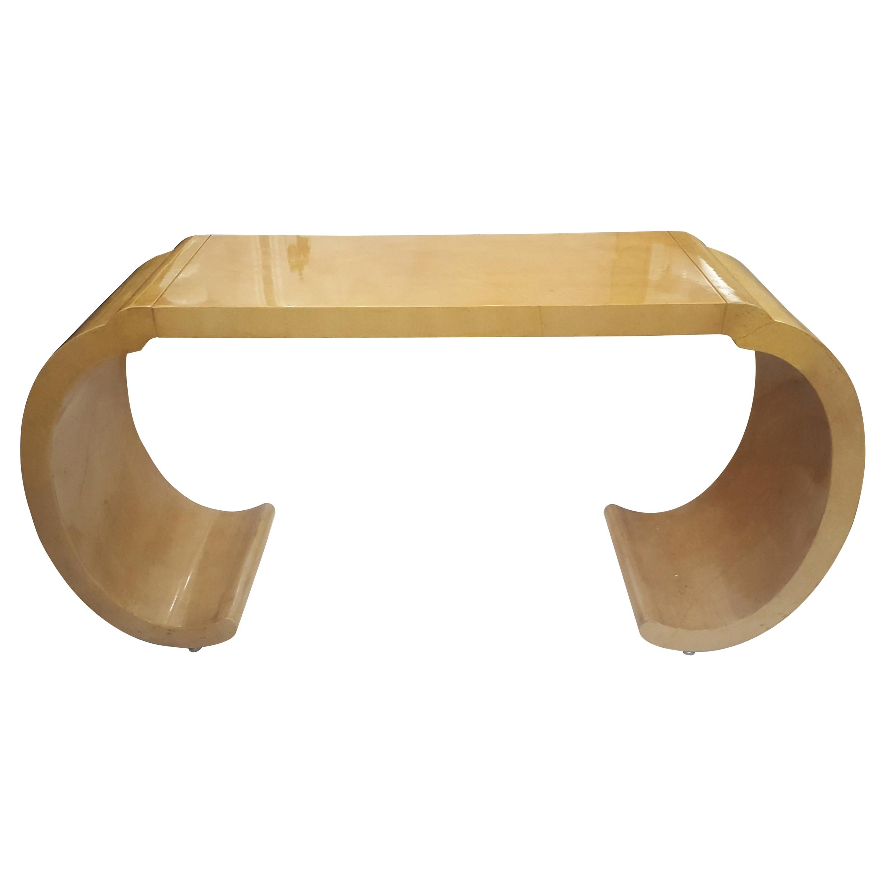 Sculptural Lacquered Console Table in the Karl Springer Manner