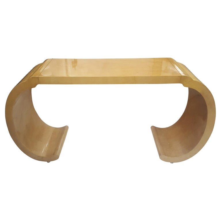 Sculptural Lacquered Console Table in the Karl Springer Manner For Sale