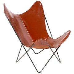 Sculptural Leather Butterfly Chair by Jorge Ferrari-Hardoy