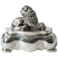 Sculptural Lion Pewter Inkwell Box by Anna Petrus for Herman Bergman, Sweden