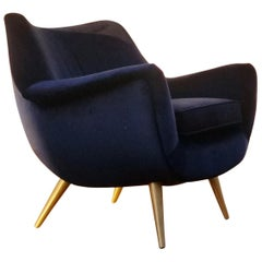Sculptural Lounge Chair by Lawrence Peabody for Selig with Brass Legs