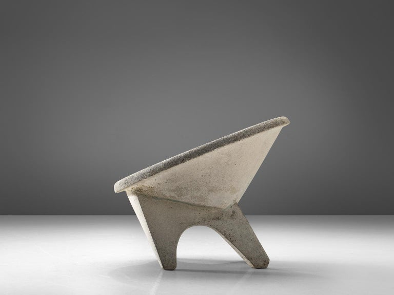 Mid-Century Modern Sculptural Lounge Chair in Concrete For Sale